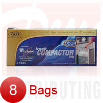 "W10165292RB - 15"" Plastic Trash Compactor Bags - Odor Absorbing 8 Pk"