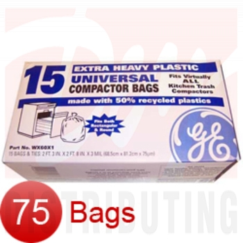 "WX60X75 - GE 75 Pk of 15"" Plastic Trash Compactor Bags"