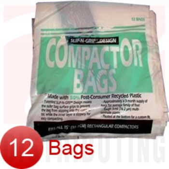 "WC60X5017 - GE 12 Pk Trash Compactor Bags - 15"" Plastic"