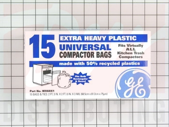 "WX60X1 - GE 15 Pk of 15"" Plastic Trash Compactor Bags"
